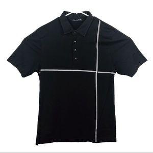 Travis Mathew Black White Stripe Golf Polo Shirt L